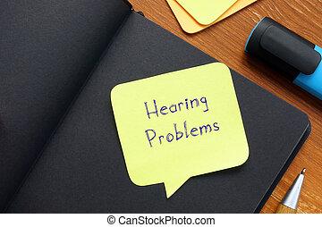 frase, oído, problemas, page.