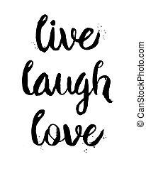 frase, vivo, amor, risa