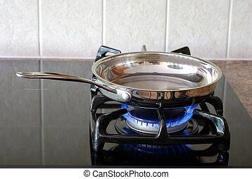 freír, estufa, gas, cacerola