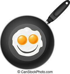 freír huevo, cacerola, sonrisa