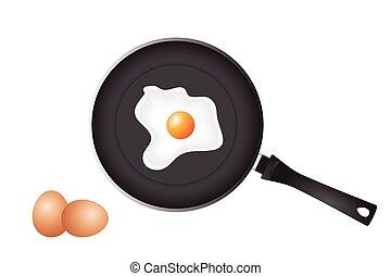 freír, huevos, cacerola