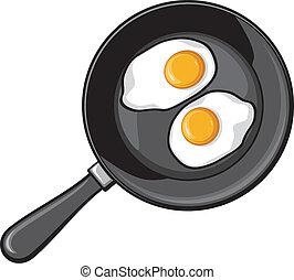 freír, huevos, frito, cacerola