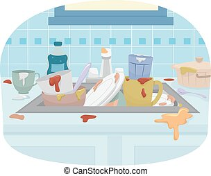 fregadero, platos sucios