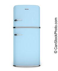 frente, azul, retro, refrigerador