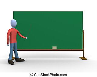 frente, blackboard., profesor