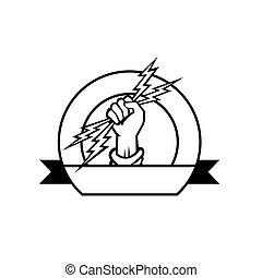 frente, blanco, icono, perno, cinta, círculo, conjunto, relámpago, mano, dentro, negro, electricista, tenencia, estilo retro
