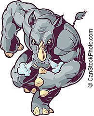 frente, caricatura, vector, rinoceronte de adeudo en cuenta