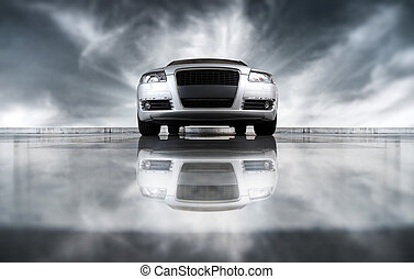 frente, coche, moderno, vista