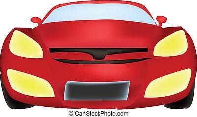 frente, coche, vector, vista