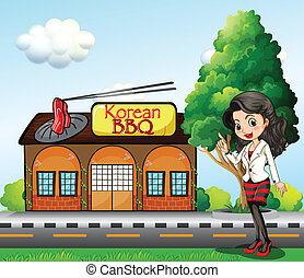 frente, coreano, barbacoa, niña, tienda