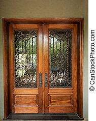 frente, elegantly, diseñado, puertas