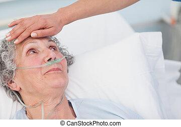 frente, enfermera, conmovedor, paciente