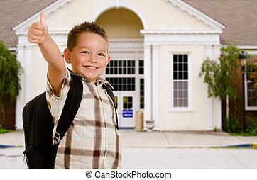 frente, escuela, feliz, niño