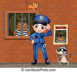 frente, gatos, cárcel, dos, policía