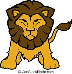 frente, león, vector, vista