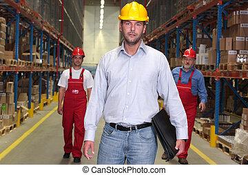frente, -, mano de obra, jefe