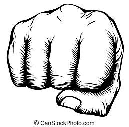 frente, perforación, puño, mano
