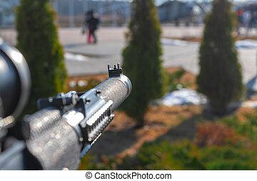 frente, rifle, sightt, selectivo, rifle., silenciado, enfoque., val, francotirador, asalto