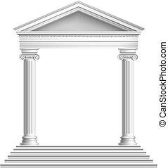 frente, templo, columnas