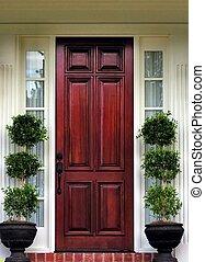 frente, topiary, puerta