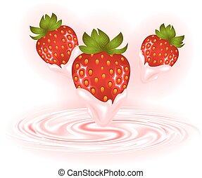 Fresas y remolino de crema