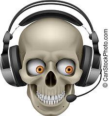 fresco, auriculares, cráneo