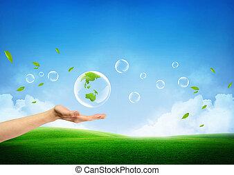 fresco, concepto, tierra verde, nuevo