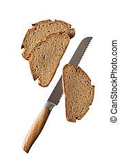 fresco, cuchillo, centeno, tres, bread, rebanadas