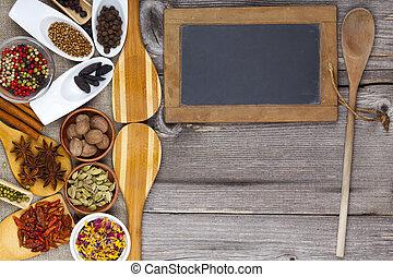 fresco, especias, cocina, fragante