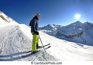 fresco, hermoso, nieve, estación, soleado, esquí, invierno, día