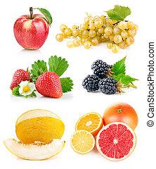 fresco, hojas, conjunto, verde, fruits
