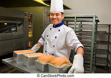 fresco, panadero, horno, tenencia, bread