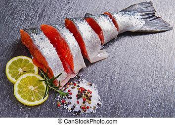 fresco, rebanada, salmón