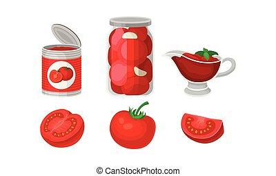 fresco, vector, tomatoes., blanco, conservado, ilustración, fondo., conjunto