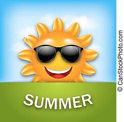 Fresco y feliz sol de verano con gafas de sol
