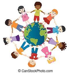 friendship., community., tenencia, hands., globo, multiétnico, sonriente, grupo, unidad, culture., niñez, diversidad, tierra, diverso, kindergarten., multicultural, círculo, niños