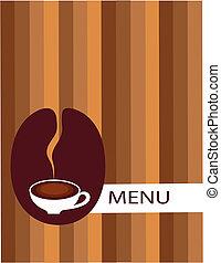 frijol, taza para café, menú