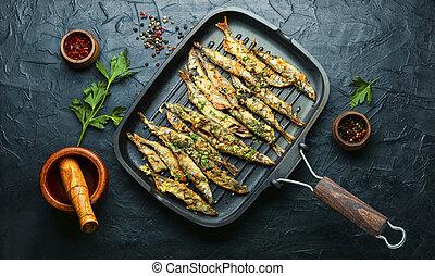 frito, sartén, pez