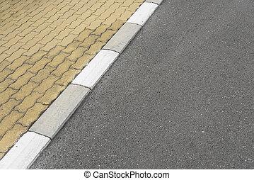 frontera, asfalto, road., acera