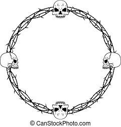 frontera, cráneo, espina