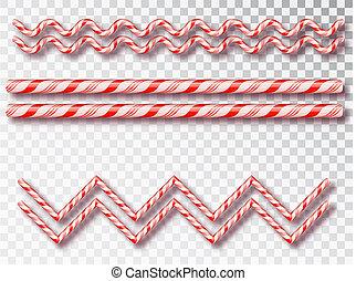 Frontera de caramelos de Navidad aislada. Diseño de Navidad en blanco y negro, un marco de cuerda de color rojo y blanco. Año nuevo 2019. Diseño de vacaciones, decoración. Ilustración de vectores