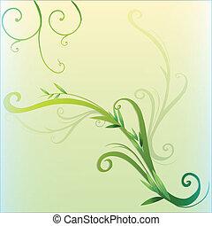 frontera, diseño, hoja, vid, verde
