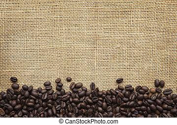 frontera, encima, granos de café, arpillera