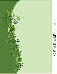 Frontera floral verde diseño 2