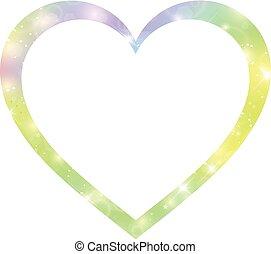 frontera, formado, holograma, magia, corazón, fantasía, estrellas, blurs., gradiente