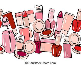 frontera, horizontal, vario, seamless, cosméticos