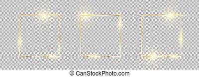 frontera, oro, encendido, cuadrado, dorado, effects., set., frame., colección, marcos