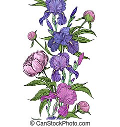 frontera, peonía, flores, seamless, hermoso, iris