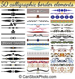 fronteras, conjunto, ilustración, vendimia, formas, elementos, diferente, colores, calligraphic