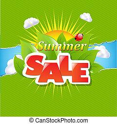 Fronteras de papel rotas verdes y pancartas de venta de verano